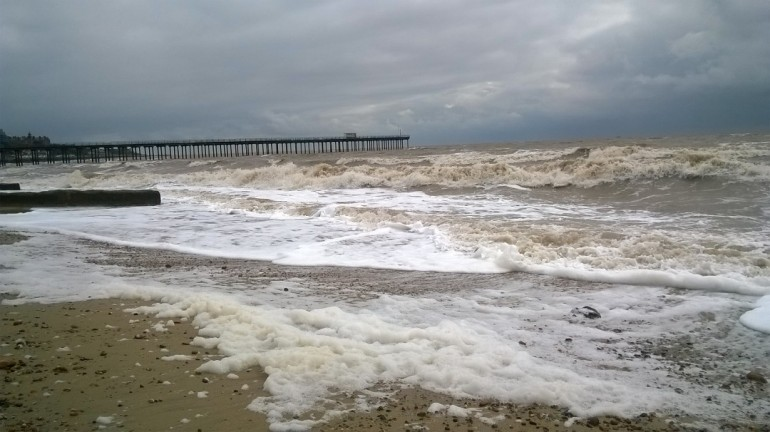Foam on the beach, Felixstowe, windy