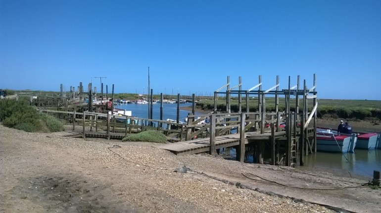 Boats moored ready to visit seals, Blakney, July 2017