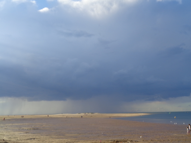 Storm out at sea, Wells-next-the-sea beach, August 2017
