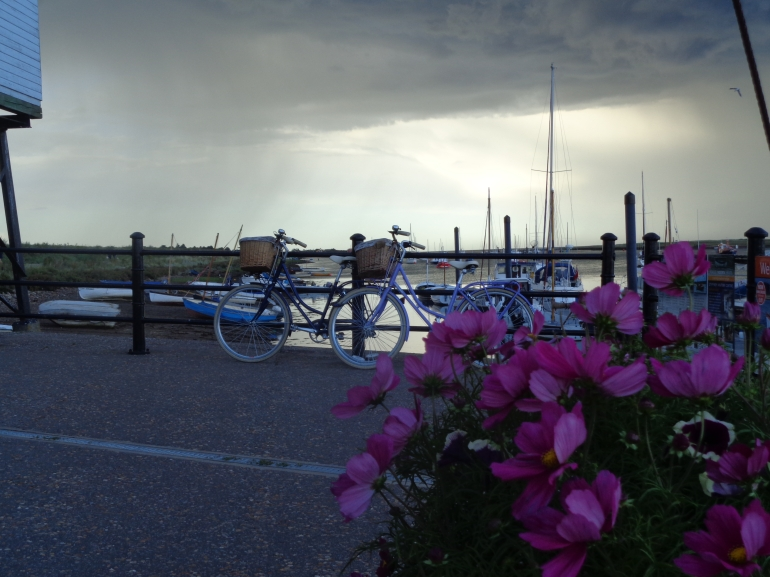 Wells-next-the-sea storm, flowers and bike August 2017