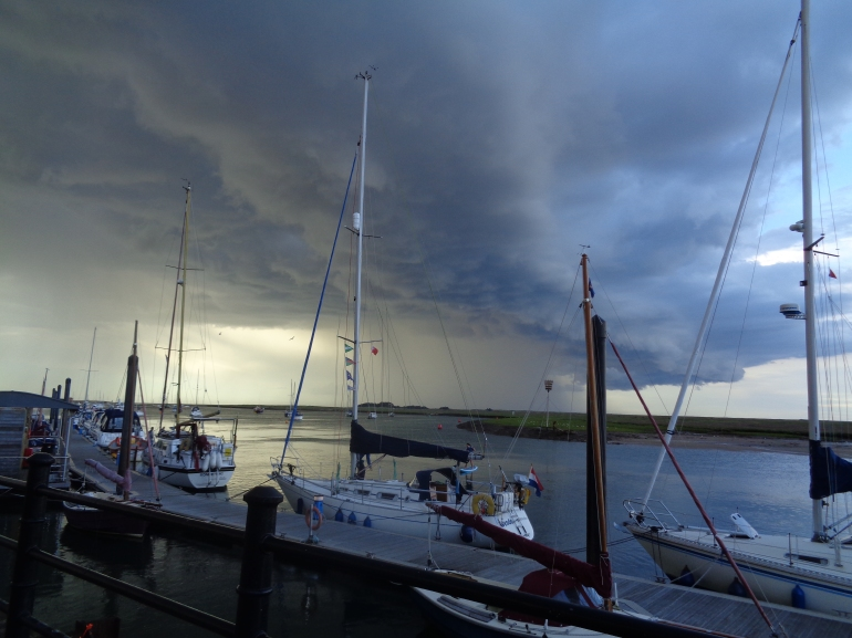 Storm behind yachts, Wells-next-the-sea August 2017